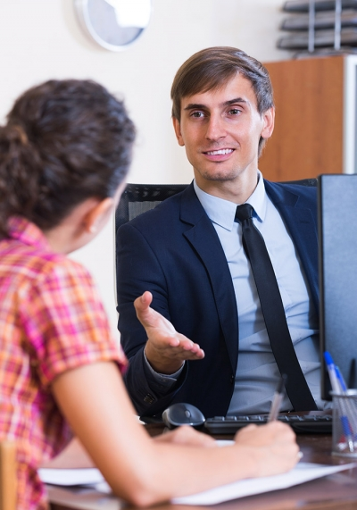 office worker explaining instructions to client
